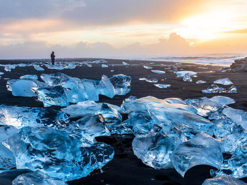 3 days, South Coast, Golden Circle & Northern Lights - Diamond beach - friend in iceland